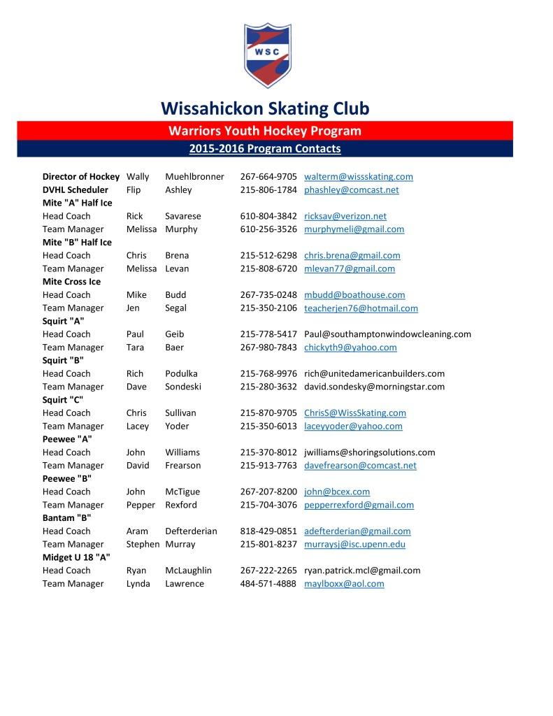 2015-16 WSC Youth Hockey Program Contacts