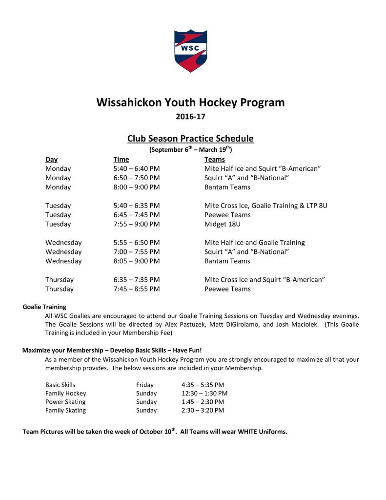 2016-17 WSC Youth Hockey Program Practice Schedule
