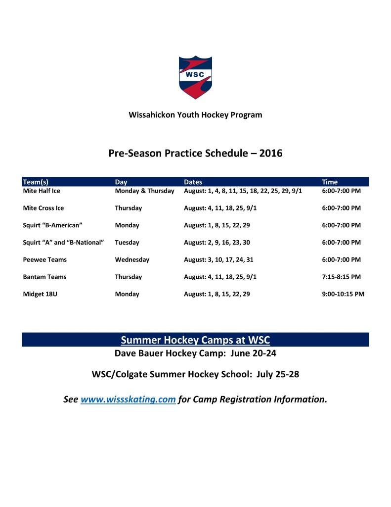 2016 WSC YHP Pre-Season Practice Schedule