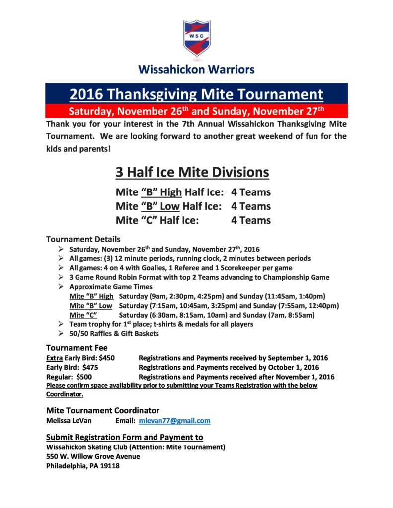 2016-17 Thanksgiving Mite Tournament Information page 1