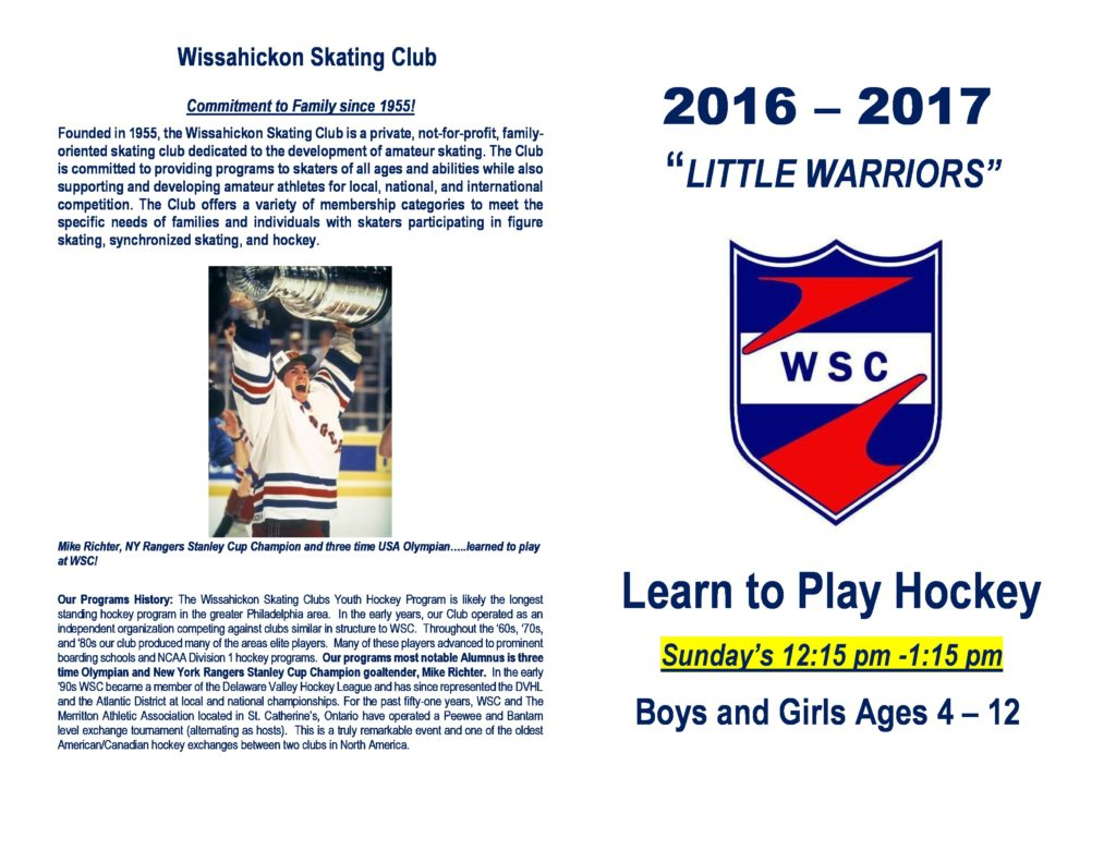 2016-17 WSC Little Warriors Registration Form with revised time-outside