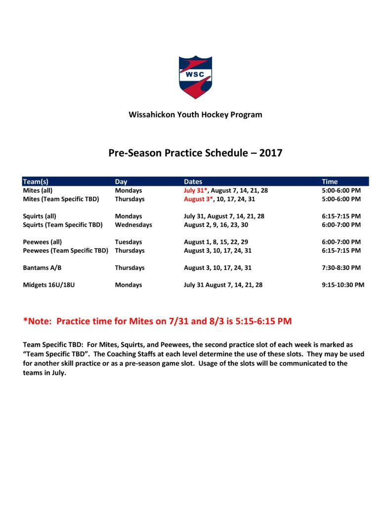2017-18 WSC Youth Hockey Pre-Season Practice Schedule-rev 2