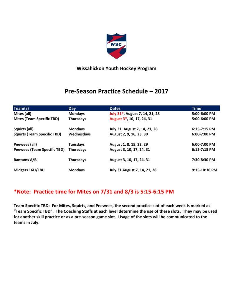 2017-18 WSC Youth Hockey Pre-Season Practice Schedule-rev 2